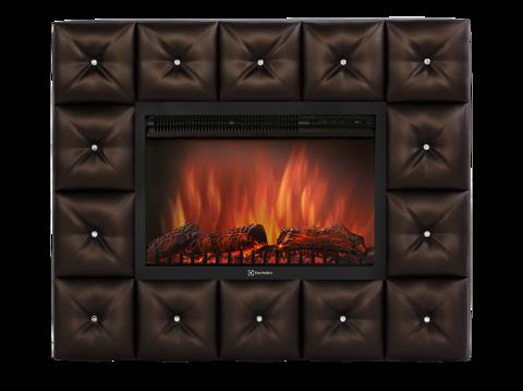 Каминокомплект:Очаг Electrolux EFP/P-3020LS с порталом Crystal 30 тёмная экокожа