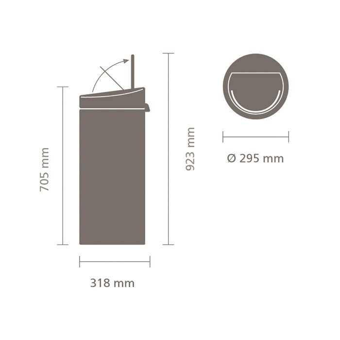 Мусорный бак Touch Bin New (30 л), Черный матовый, арт. 115301 - фото 1