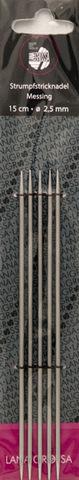 Lana Grossa Спицы чулочные полые латунные, № 2.5, 15 см