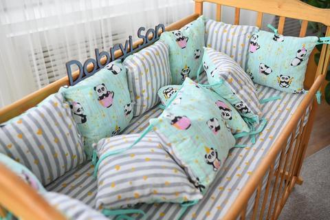 Защита со съемными наволочками в кроватку от комплекта Bravo 12 шт 3-03-1 Мятная панда + полоска