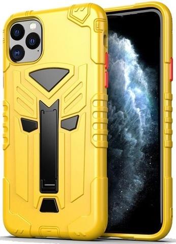 Чехол Carbon для iPhone 11 Pro серия Дюал | с магнитом и складной подставкой желтый