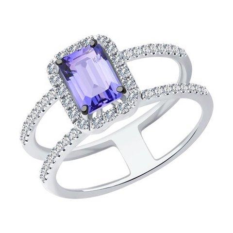 6014189-3 - Кольцо из белого золота с бриллиантами и танзанитом