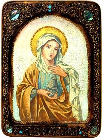 Инкрустированная живописная икона Святая Равноапостольная Мария Магдалина 29х21см на натуральном кипарисе в подарочной коробке