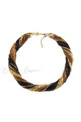 Бисерное ожерелье из 48 нитей золотисто-черное