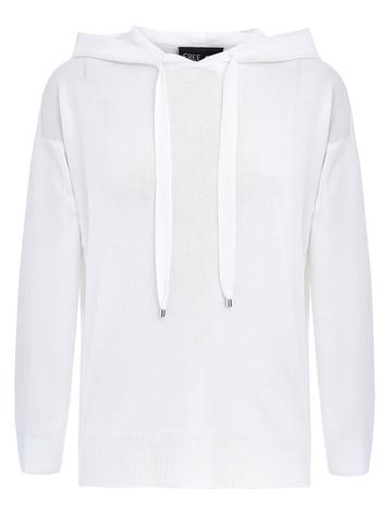 Женский джемпер с капюшоном белого цвета из вискозы - фото 1