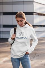 Женская толстовка белая с капюшоном (худи, кенгуру) и принтом Акура (Acura) 001