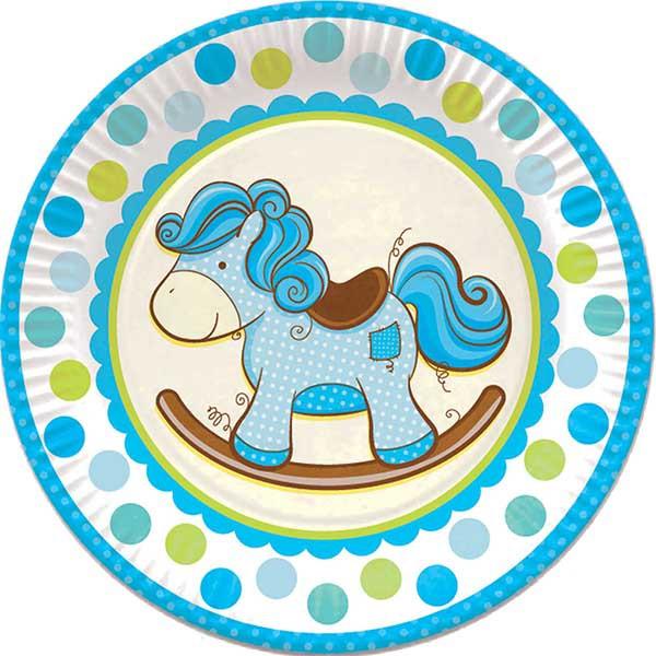 Тарелки бумажные ламинированные Лошадка Малыш голубая 23см 6шт