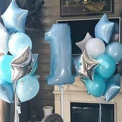 Воздушный шар (40''/102 см) Цифра, 1, Голубой, 1 шт.