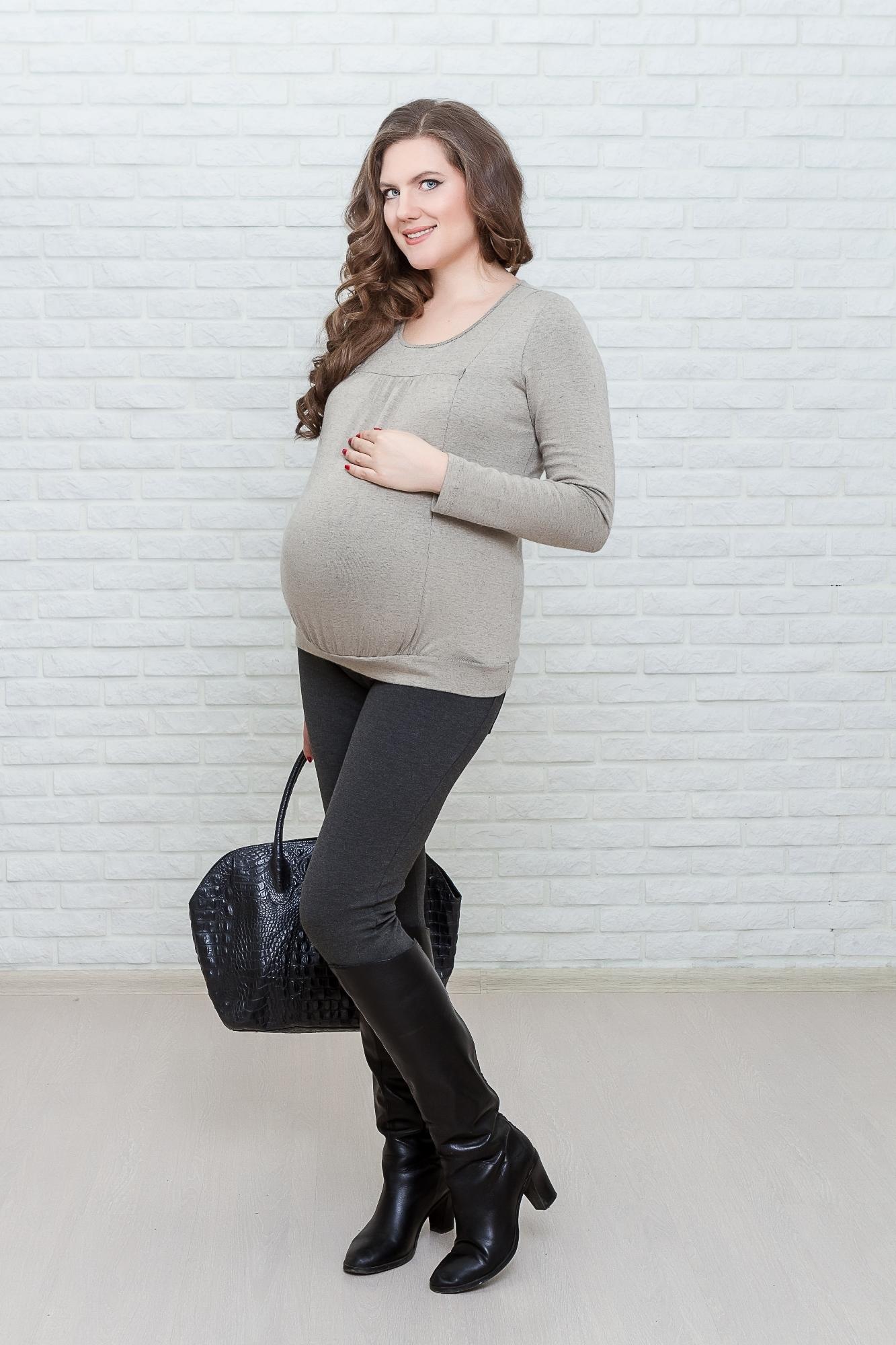 Джемпер для беременных и кормящих 01832 бежевый
