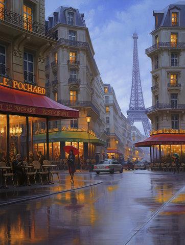Картина раскраска по номерам 40x50 Парижская улочка