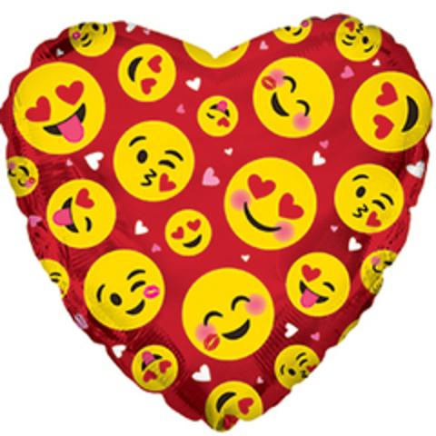 Сердце, Влюбленные смайлы, Красный, 18''/46 см, CTI, 1 шт.