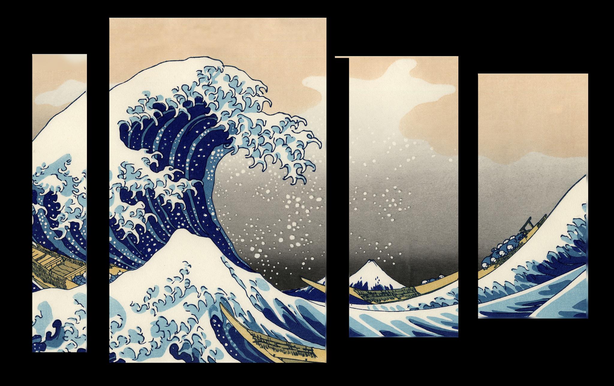"""Модульные картины Модульная картина """"Японская волна"""" М1020_М_загибы_90х71.png"""
