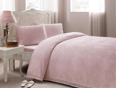 Покрывало махровое 2-спальное Tivolyo home LA PERLA 220х240 см розовое