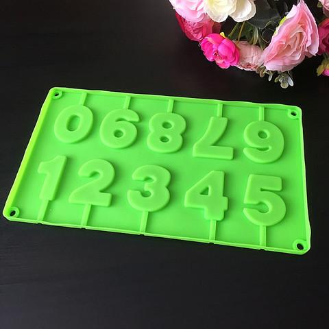 Силиконовая форма для леденцов Цифры зеленые 10в1 (высота 50мм)