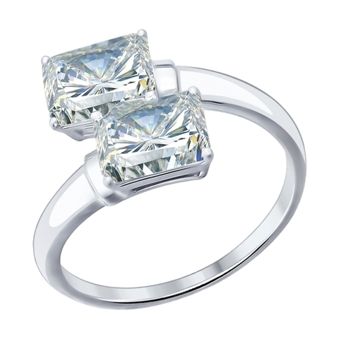94012075 - Кольцо  из серебра с фианитами