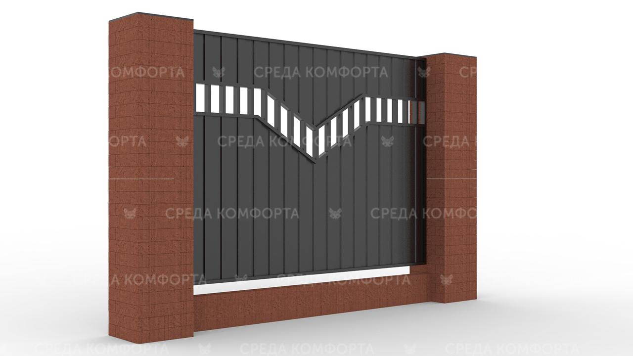 Забор из профлиста 2500х2000 мм ZBR0038 (столб для забора продается отдельно)