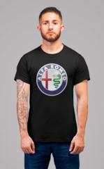 Мужская футболка с принтом Альфа Ромео (Alfa Romeo) черная 001