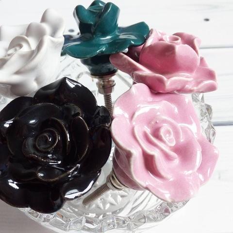 Ручка мебельная керамическая  - роза