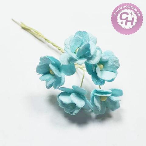 Цветы вишни из бумаги мини 1,8 см, букет 5 шт.