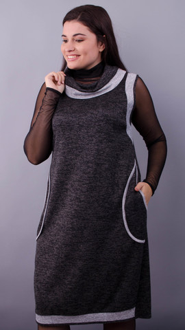Ніна. Трикотажна сукня великих розмірів. Графіт.