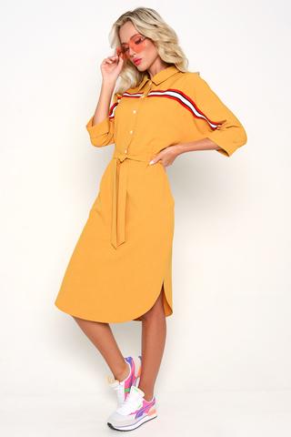 """<p>Модное платье """"Атланта"""" выполнено из качественного льна. Талия отрезная на резинке с поясом. Рукав 3/4 с манжетом. По переду планка с пуговицами, ворот отложной.</p>"""