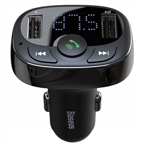 Автомобильное зарядное устройство Baseus T typed Bluetooth MP3 charger with car holder(Standard edition)Black
