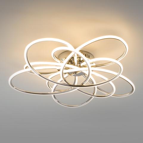 Потолочный светодиодный светильник с пультом управления 90143/5 хром