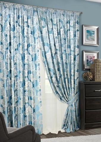 Комплект штор Салют с тюлем голубой