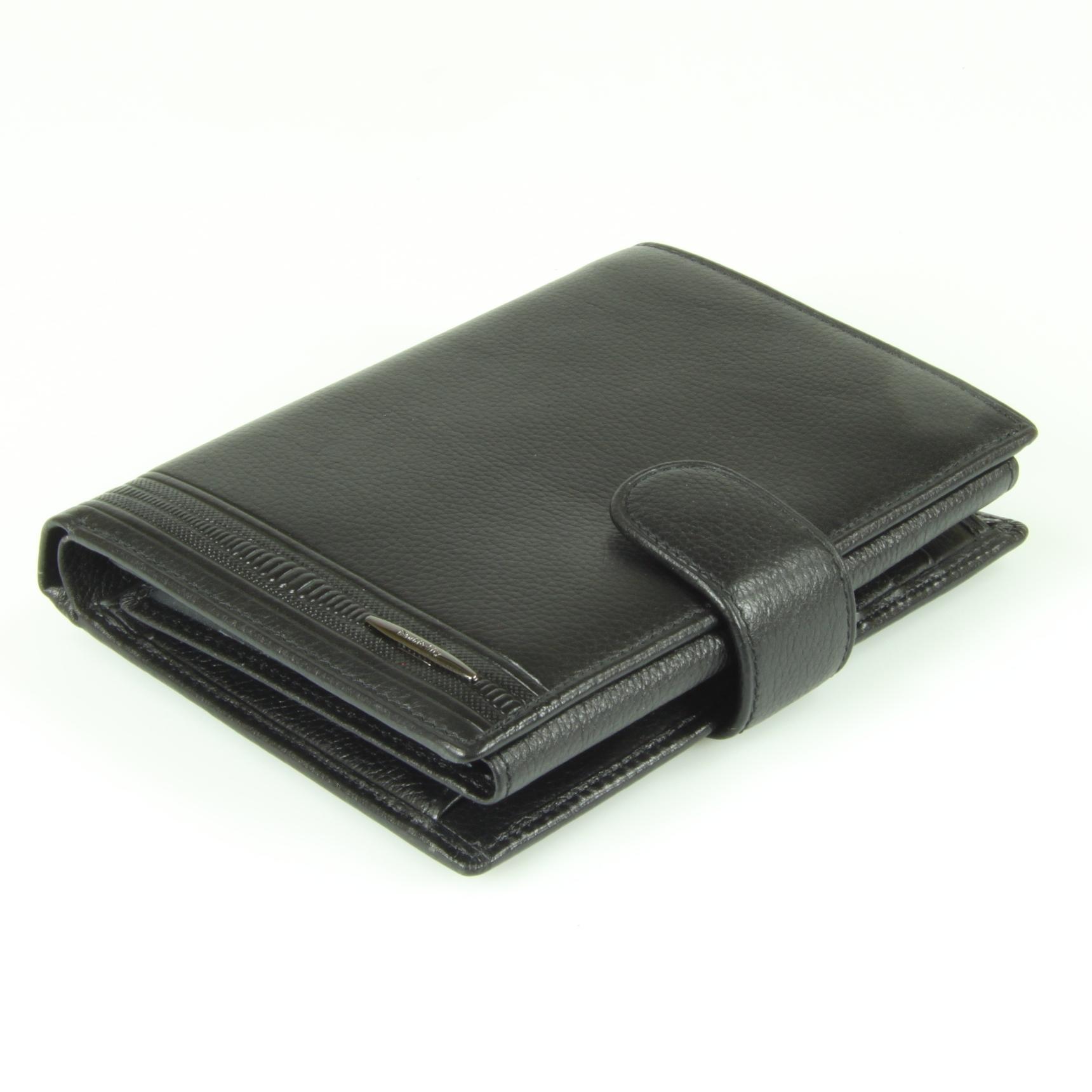 Солидное мужское чёрное портмоне с отделениями для водительских документов и паспорта из натуральной кожи яка повышенной прочности Dublecity M100-DC11-08A в подарочной коробке