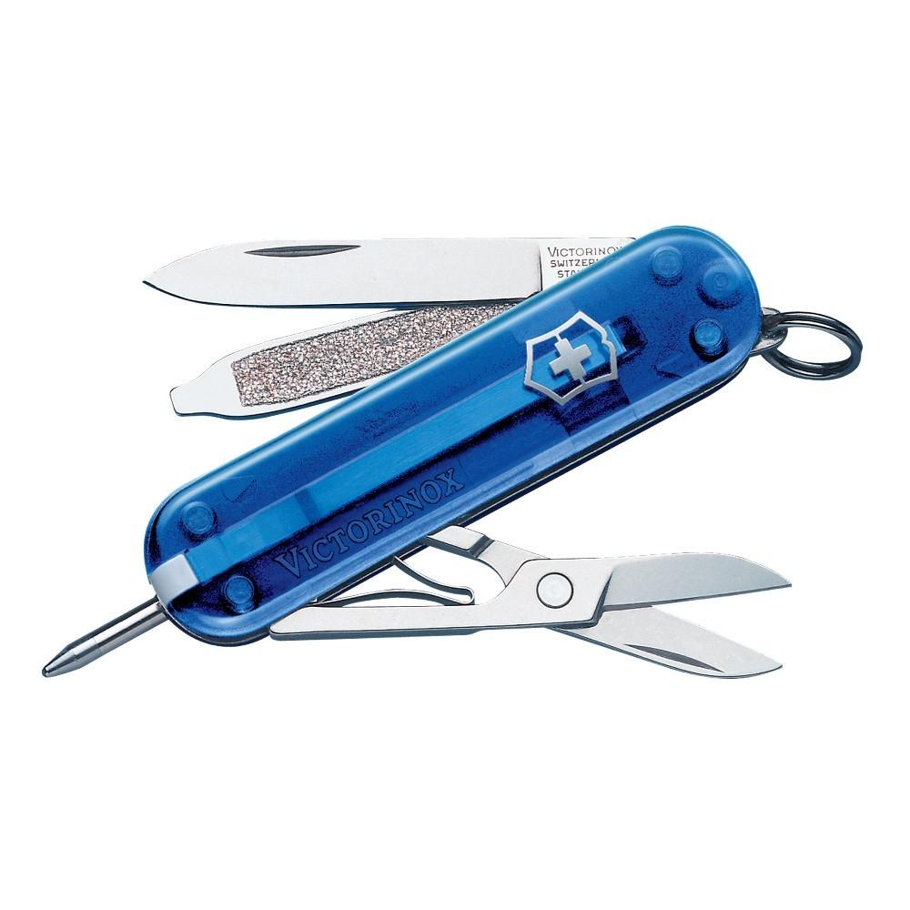 Нож-брелок Victorinox Signature (0.6225.T2) с шариковой ручкой, синий полупрозрачный | Wenger-Victorinox.Ru