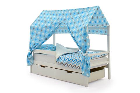 """Крыша текстильная для кровати-домика Svogen """"звезды синий, белый, графит, фон голубой"""""""
