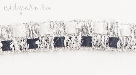 Тесьма французская с квадратами, цвет светло-серый с белым и чёрным, B11130.02, цвет 1, ширина 2 см, цена указана за 50 см