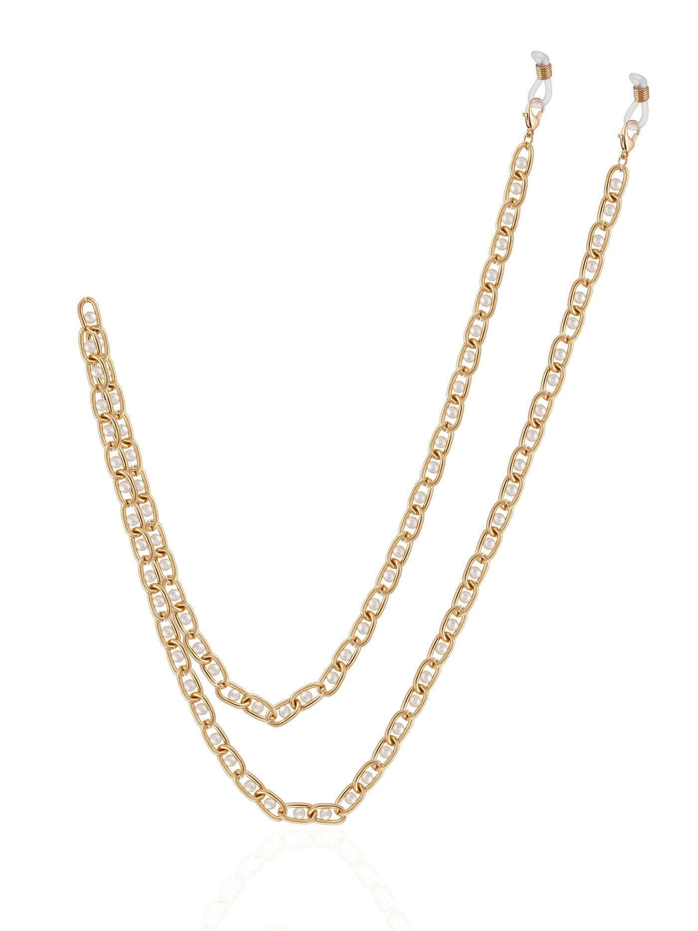 Золотистая цепочка для очков с жемчугом