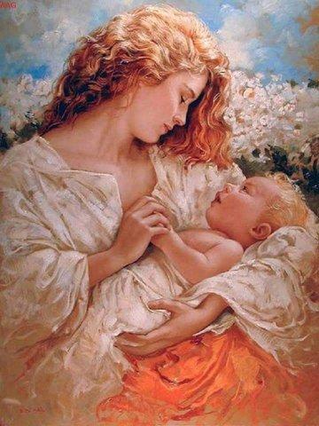 Картина раскраска по номерам 40x50 Мать и детя