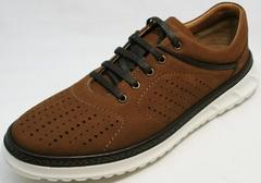 Стильные кроссовки сникерсы мужские Vitto Men Shoes 1830 Brown White