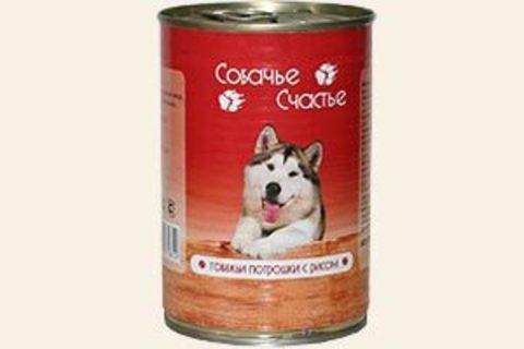 Собачье счастье Говяжьи потрошки с рисом, 410г