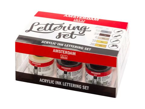 Набор акриловых чернил Amsterdam Lettering Set 6 банок по 30мл в картонной упаковке