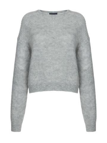 Женский джемпер серого цвета из мохера и шерсти - фото 1