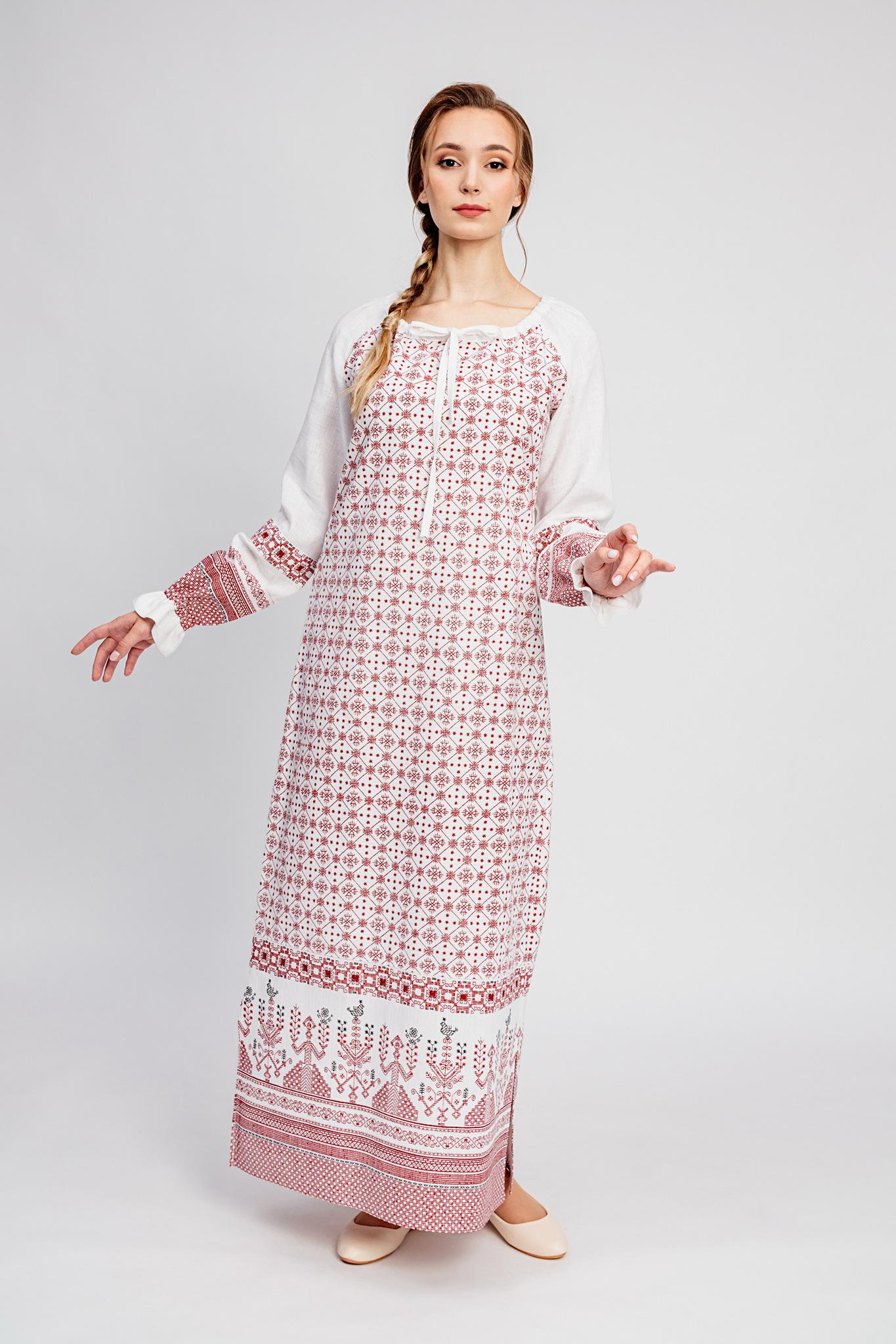 Льняное традиционное платье народное