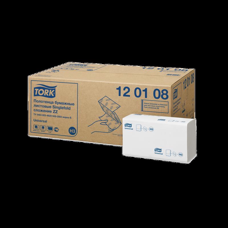 Полотенца бумажные листовые, сложение ZZ, 23х23 см, Tork Singlefold Universal, H3 (127 руб/шт)