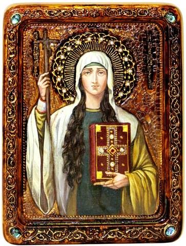 Инкрустированная живописная икона Святая Равноапостольная Нина, просветительница Грузии 29х21см на натуральном кипарисе в подарочной коробке