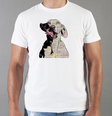 Футболка с принтом собаки (Собачки, Веймаранер) белая 0074