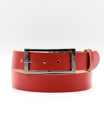 Женский кожаный красный ремень 35 мм Coscet WW35-1-1