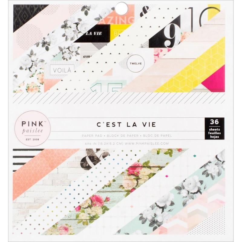 Набор односторонней бумаги C'est La Vie от Pink Paislee 15x15см