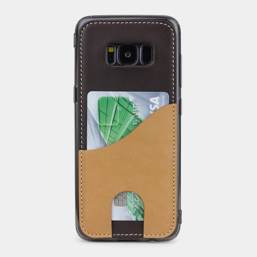 Чехол-накладка Andre для Samsung S8 из натуральной кожи теленка, темно-коричневого цвета