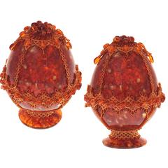 Сувенирное Пасхальное яйцо (натуральный янтарь, бисер), АВ-0739