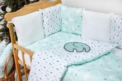 Бортики-защита в кроватку из сатина от комплекта Верона - 2 Ёлочки