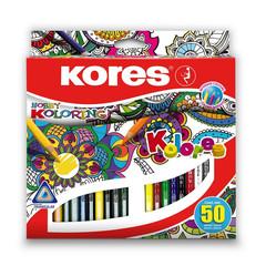 Карандаши цветные Kores Hobby Koloring 50 цветов трехгранные