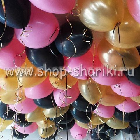 шары черные золотые и розовые