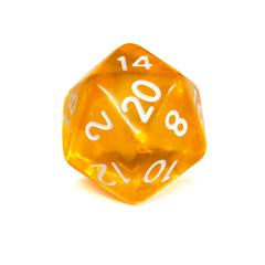 Куб D20 прозрачный: Желтый
